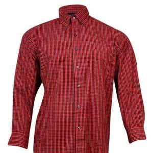 Men CLUB ROOM Dress Shirt Tartan Berry